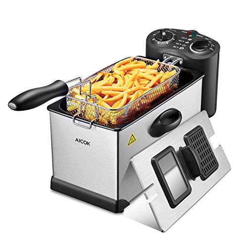 Aicok Deep Fryer, With Basket, 1700-Watt Stainless-Steel Oil Deep Fryer Machine...