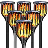 """New Huing 6 Pack Solar Torch Lights, 43"""" Outdoor Waterproof 96 LEDs Solar Landscape Decoration Lighting with Flickering Flames, Dusk to Dawn Auto On/Off Solar Flames Lights for Garden Patio Pathway"""
