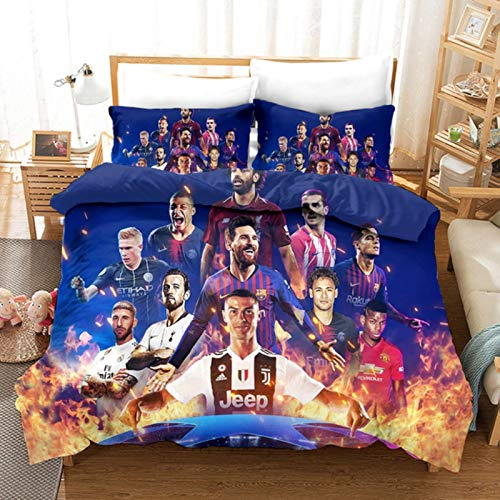 ysldtty 3D Printed Football Champion Bedding Set Duvet Cover Pillowcase Home Textile Adult Children Gift Queen King Size Bedding Set 200cm x 200cm