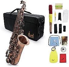 ammoon Alto Saxophone, Eb E-flat Sax Antique Finish BendShell Key with Case Cleaning Cloth Straps Brush