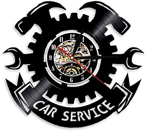 Servicio de coche reparación de automóviles reloj de pared de garaje decoración de pared disco de vinilo reloj de pared herramienta de garaje llave de llantas señal para colgar en la pared regalo
