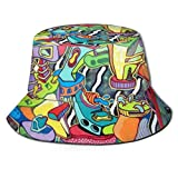 YongColer Bucket Hat Fisherman Hat Hunting Fishing Caps Fashion Style Sports Outdoor, Abstract Trippy Graffiti Paint