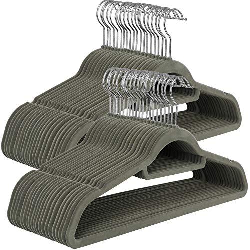 IEOKE grucce per Pantaloni Gonna con Regolazione Metal Grip Pantaloni grucce Appendiabiti per Heavy Duty Durable Space saving-24/Confezione