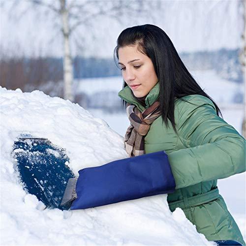 CIVIKY Raspador de hielo para ventana de coche, accesorios de invierno, guantes anticongelantes impermeables, color azul