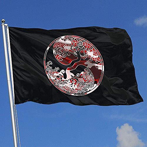 Not Applicable House Yard Flags,Odin Thor Wikinger Nordischen Baum des Lebens Süße Haus Hof Fahnen Für Garten Willkommen Dekor 90X150CM