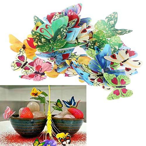 VOSAREA 40PCS Commestibile Farfalla Cupcake Toppers, Torta Nuziale Festa di Compleanno Decorazione Cibo Formato (Misto E Colore)