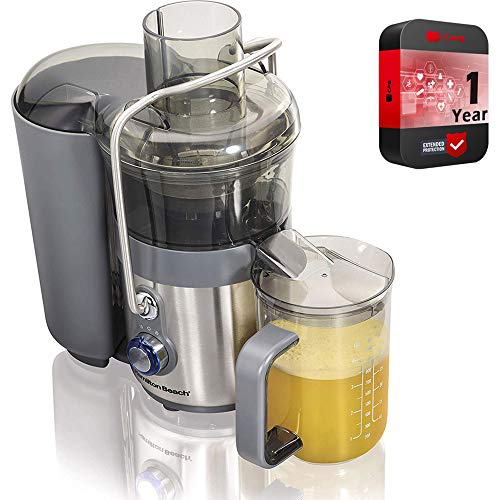 Hamilton Beach Premium Juicer Machine Big Mouth 3 inch Feed Chute Centrifugal Easy Clean Bundle with 1 Year Extended Warranty