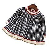 ウィードマップ ベビー服 ワンピース ドレス ニット 長袖 チェック柄 子供服 暖か 厚手 おしゃれ 女の子 幼児 0-4歳 ネービー 80cm