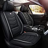 INCH EMPIRE 2 Front Car Seat Cover Water proof with Built-in Lumbar Support Fit for Accord Legacy Outback WRX Crosstrek Hybrid Tacoma FJ Cruiser RAV4 Corolla Matrix Venza Avalon (2 Front Black&White)