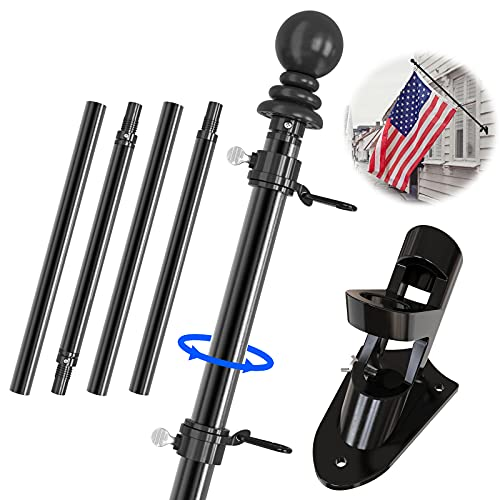 """IIOPE 6 FT Flag Pole Kit for House, 1"""" American Metal Flagpole with Holder Mounting Bracket for Porch, Outdoor Tangle Free Wall Mounted Flag Pole, Black"""