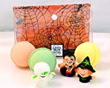 New Kids Trio Bath Bombs with Cute Halloween Puppet Toys - Citrusy Fresh Scents Plus Color Therapy Gift Sets
