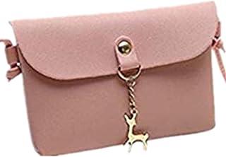 2fbe24634d TEBAISE Damen Mini Kleine Faux Leder Umhängetasche Hirsch Crossbody Frauen  Retro Elegant Handtasche Reh Anhänger Reißverschluss