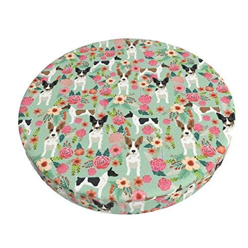 Funda de cojín para silla de bar redonda, transpirable, lavable, para ratas de Terrier, diseño floral, para mascotas, menta, taburetes elásticos, de 35 cm