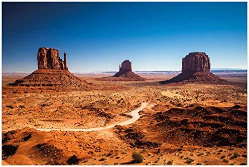 Wallario Glasbild Monument Valley unter blauem Himmel - 60 x 90 cm in Premium-Qualität: Brillante Farben, freischwebende Optik