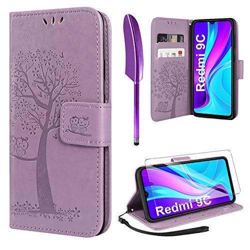 AROYI Handyhülle für Redmi 9C Hülle + Schutzfolie,Redmi 9C Klapphülle Hülle PU Leder Flip Wallet Schutzhülle für Redmi 9C Tasche (Lila)