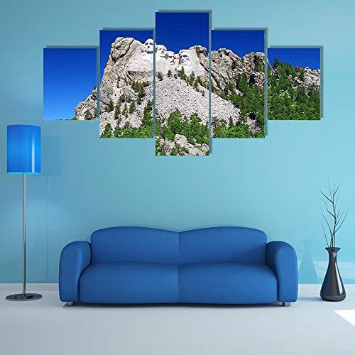 NNNLX Impresiones sobre Lienzo,Impresión Mural 5 Piezas, colinas Negras en Dakota del Sur,Poster Mural,Decoración Arte De La Pared del Hogar,con Marco,Listo para Colgar
