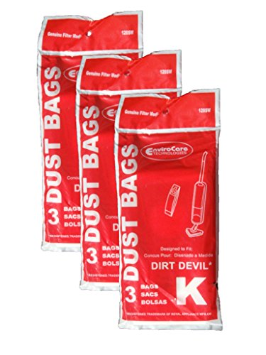 9 Royal Dirt Devil Stick Vac Type K Allergy Vacuum Bags, All Dirt Devil Stick vacs and Royal Vac Vacuum Cleaners, 3-320230-001, 3320230001, 320230, 3-320075-001, 3320075001, 320075, 3-320235-001, 3320235001, 320235