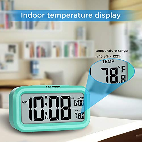 PEAKEEP Smart Night Light Digital Alarm Clock with Indoor Temperature, Battery Operated Desk Small Clock (Mint)