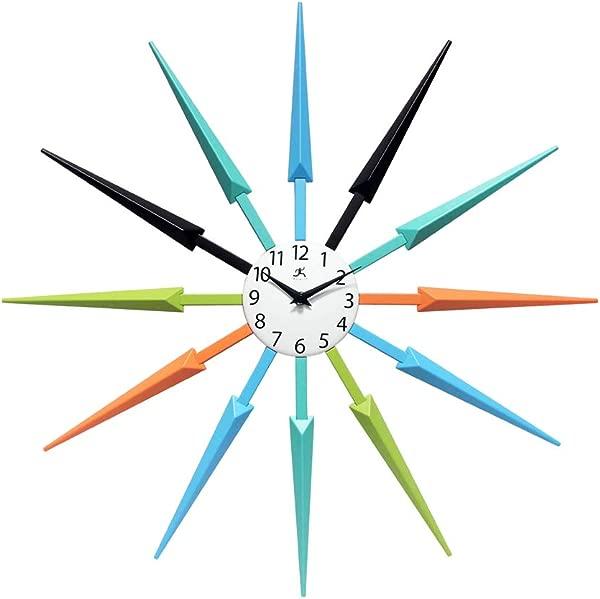 Infinity Instruments Celeste Multi Color Large Colorful Wall Clock Retro Wall Clock Starburst 24 Inch Big Colorful Clock Black Aqua Blue Orange Green