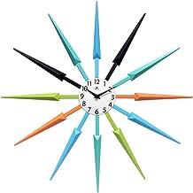 Celeste Multi-Color Large Colorful Wall Clock   Retro Wall Clock Starburst   24 inch Big Colorful Clock   Black, Aqua, Blu...
