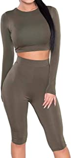 Enggras Women's Tracksuit Sweat Suit Sport Athletic Long Sleeve Crop Top and Pant Set Bodycon Gym Outfit