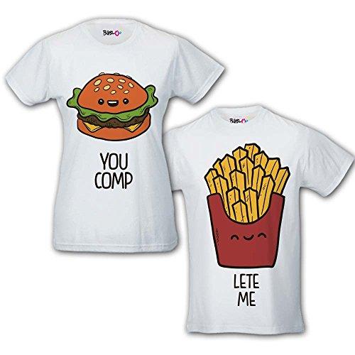 Coppia di T Shirt Magliette You Complete Me Fast Food Bianche Uomo L Donna M