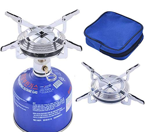 Estufa de gas portátil para camping, estufa de gas de una sola pieza, quemador de gas, quemador plegable de titanio, juego de utensilios de cocina para camping, barbacoa, 17 x 7 cm