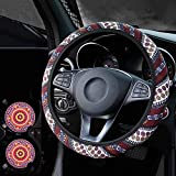 Wellvo 3 Pack Boho Steering Wheel Cover with Car Cup Holder Coasters 15 inch Universal Bohemian Style Steering Wheel Covers Cute Cloth Car Accessories for Women(Orange)