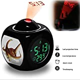 Projection Alarm Clock Wake Up Bedroom with Data and Temperature Display Talking Function, LED Wall / Ceiling Projection, Dinosaur-177.285_Alamosaurus sanjuanensis dinosaur