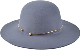 CHENDX High Quality Hat, Fashion Women 100% Wool Dome Bucket Black Felt Hat Jazz Hat Metal Ring Fedora Hat Wide-Brimmed Hat Size 56-58CM (Color : Gray)