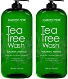 Majestic Pure Tea Tree Body Wash - Formulated to Combat Dry, Flaky Skin - Soothes, Nourishes and Moisturizes Irritated, Chapped, Problem Skin Areas and Nails - (Packaging may Vary) -Set of 2, 16 fl oz