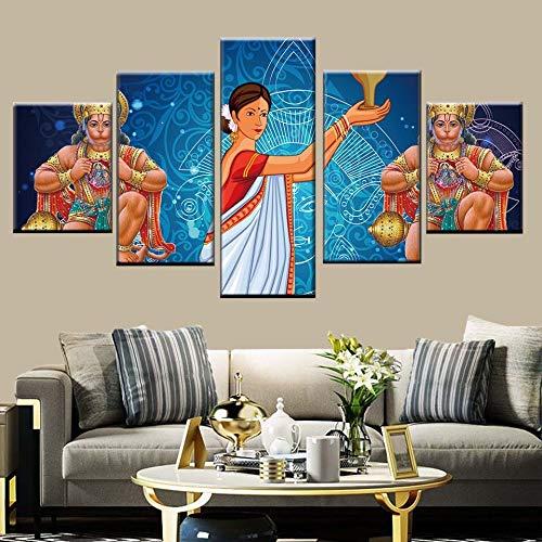 KWzEQ HD Modular Images 5 Göttin Poster Indischer Affengott Art Deco Raumdekoration,Rahmenlose Malerei,30x40cmx2, 30x60cmx2, 30x80cmx1