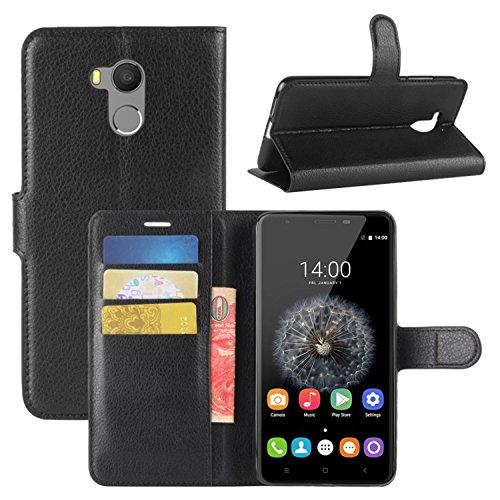 HualuBro Funda Oukitel U15 Pro, [Protección Todo Alrededor] Premium PU Cuero Leather Billetera Wallet Carcasa Case Flip Cover para Oukitel U15 Pro 5.5 Inch (Negro)
