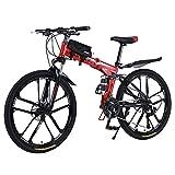 Mountainbike 26 Zoll Klapprad mit doppelten Stoßdämpfung Kohlefaser Rahmen mit fahrradtasche -...