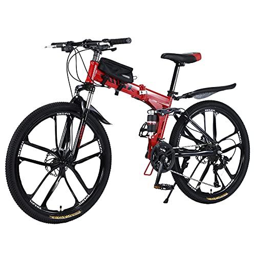 Mountainbike 26 Zoll Klapprad mit doppelten Stoßdämpfung Kohlefaser Rahmen mit fahrradtasche - Scheibenbremse fahrräder,Vollgefederte Bikes perfekt für Damen und Herren(Deutscher Spot)