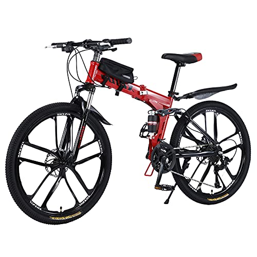 Bicicleta de montaña plegable de 26 pulgadas con doble amortiguación, marco de fibra de carbono con bolsa para bicicleta, frenos de disco, bicicleta de suspensión completa (rojo)