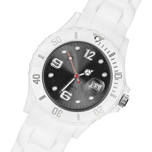 Taffstyle Damen Herren Sportuhr Armbanduhr Silikon Sport Watch Farbiges Ziffernblatt mit Datum Analog Quarz Uhr Weiß Schwarz