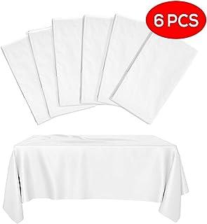 6 Manteles de Plástico Desechables Blancos (Semi-Transparente), Mantel de Fiesta Rectangular, 275x135cm - Elegante, Duradero e Impermeable| Picnic Catering Eventos Fiestas Cumpleaños Bodas.