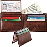 Leather Wallet with Removable Flip Up ID Window, Bifold - Premium Men's RFID Blocking Wallets with 8 Credit Card Slots - Durable Security Billfolds for Men