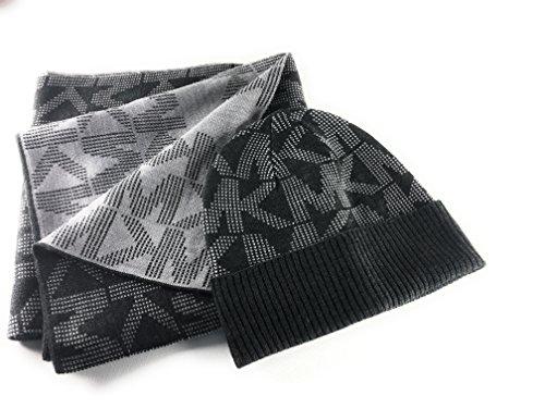 Michael Kors SET, Schal+Mütze/Beanie, grau, schwarz abgesetzt, 160x25cm, weiches Acryl, Damenschal und Mütze