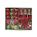 Chucherías de navidad Paquete de regalo del colgante del árbol de Navidad hermoso hermoso bolas de Navidad de la Navidad de la estrella de cinco puntas de los copos de nieve 90pcs / set Bola de Navida