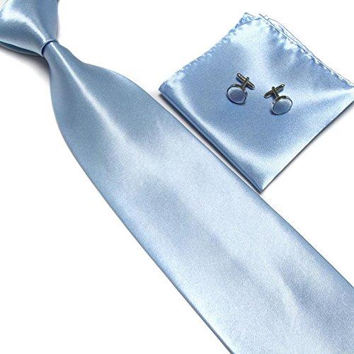 Cravate + Pochette + Bouton de Manchettes Satinée - Bleu Clair - Neuf