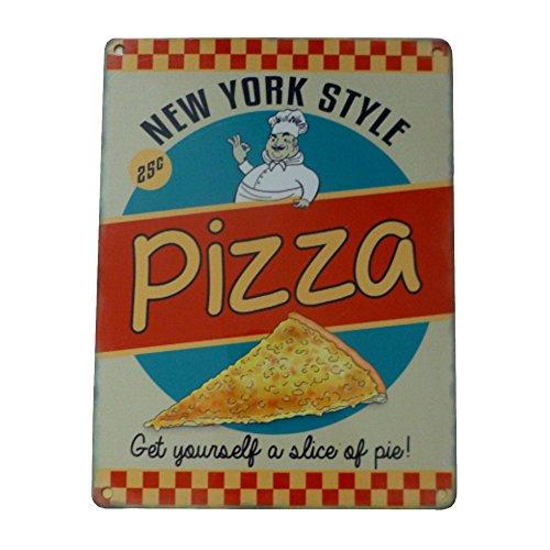 NEW YORK style Pizza Plaque en métal – acier, 20 x 15 cm