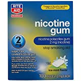 Rite Aid Nicotine Gum, Ice Mint Flavor, 2 mg - 100 Count | Quit Smoking Aid | Nicotine Replacement Gum