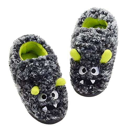 FLYFUPPY Toddler Boys Slippers Monster for Little Kids Soft Warm Plush House Shoes Indoor Outdoor 6-7 Toddler Grey