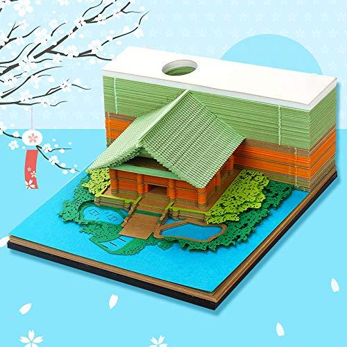 付箋 メモ帳 付箋紙のメモ 3D立体 紙の彫刻 紙建築シーン模型組立 芸術のブロック 和風クラフト 紙のカード プレゼント 飾り物 収納ケース付き 130枚 (緑)