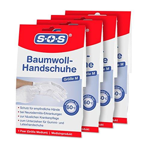 SOS Baumwoll-Handschuhe| Schutz für empfindliche Hände | Neurodermitis (4er-Pack)