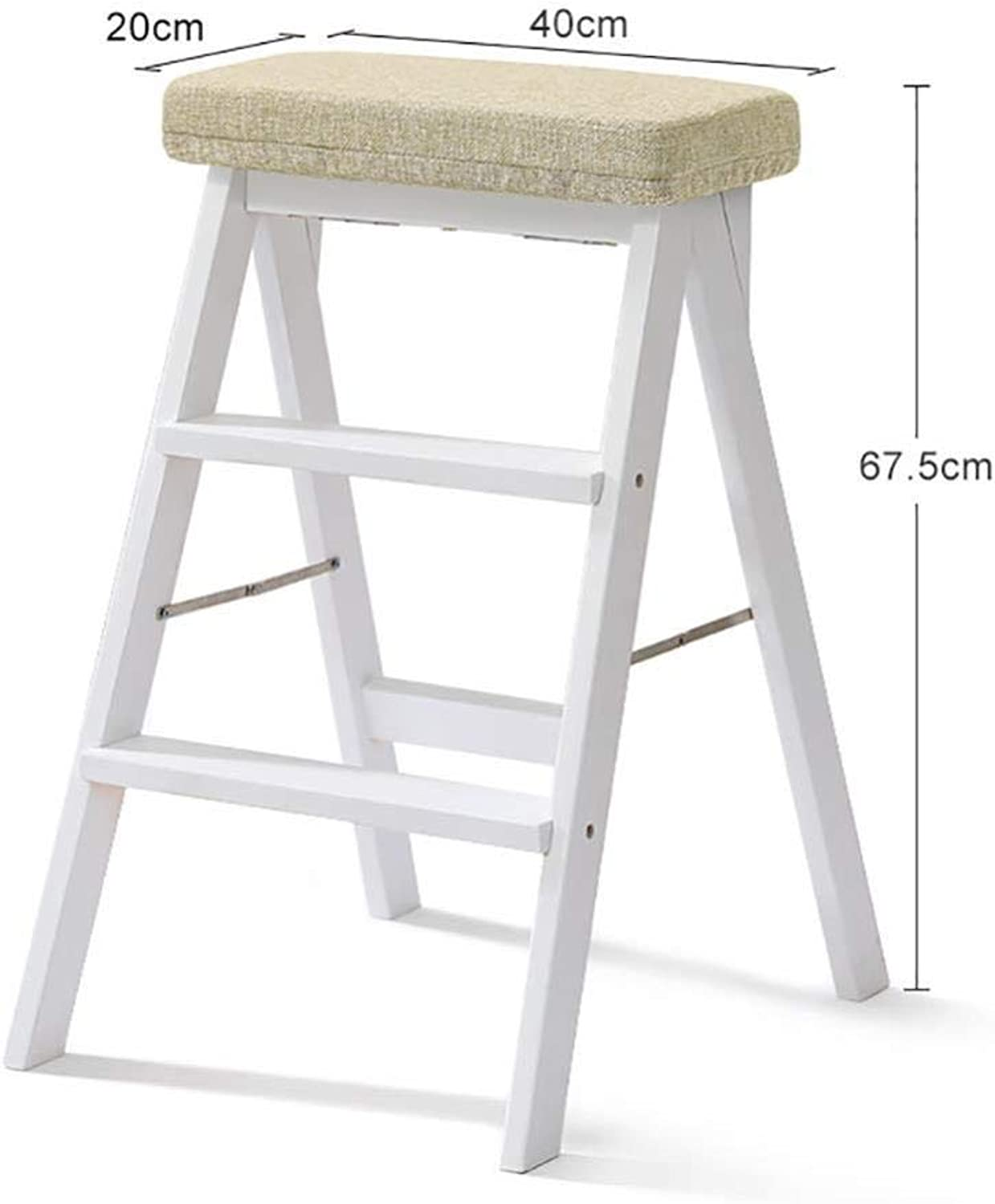 Step Stool White Solid Wooden Ladder Ladder for Adults Wooden Kitchen Ladder Portable Folding Foot Stool-Stool Bench Together stepladders Step Stool (color   D)