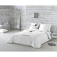 La Volátil Hoy me quedo aquí Funda nórdica, 100% algodón, Blanco, Cama 105 cm, 1400