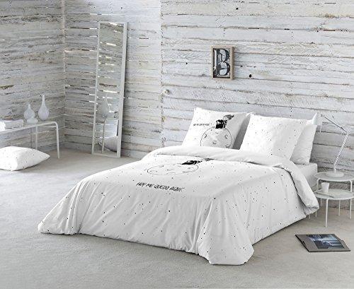 La Volátil Hoy me quedo aquí Funda nórdica, 100% algodón, Blanco, Cama 180 cm, 1900